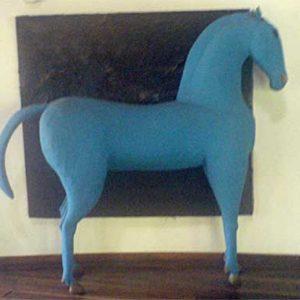 a big blue horse on display at safari park hotel nairobi kenya by rob rooker aka gigglingbob