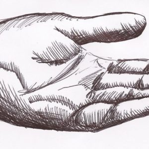 hand, pointing, line, drawing, pen, ink, finger